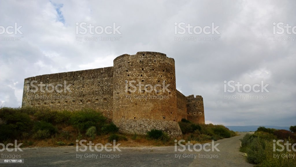 Ancient fortress-castle, in the village of Aptera Crete stock photo