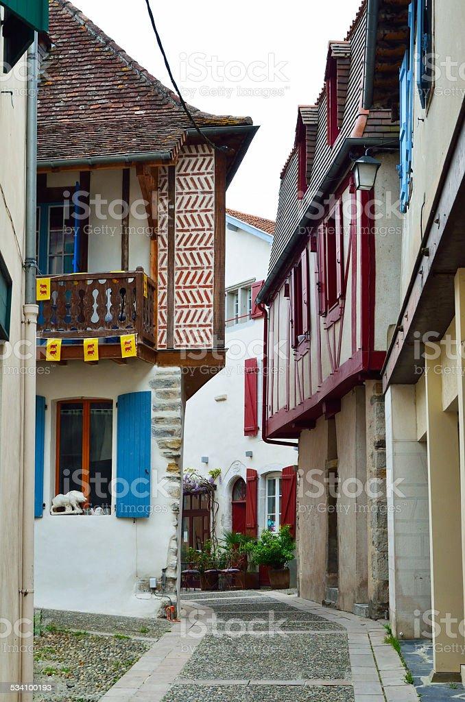 Ancient French town Salies de Bearn stock photo