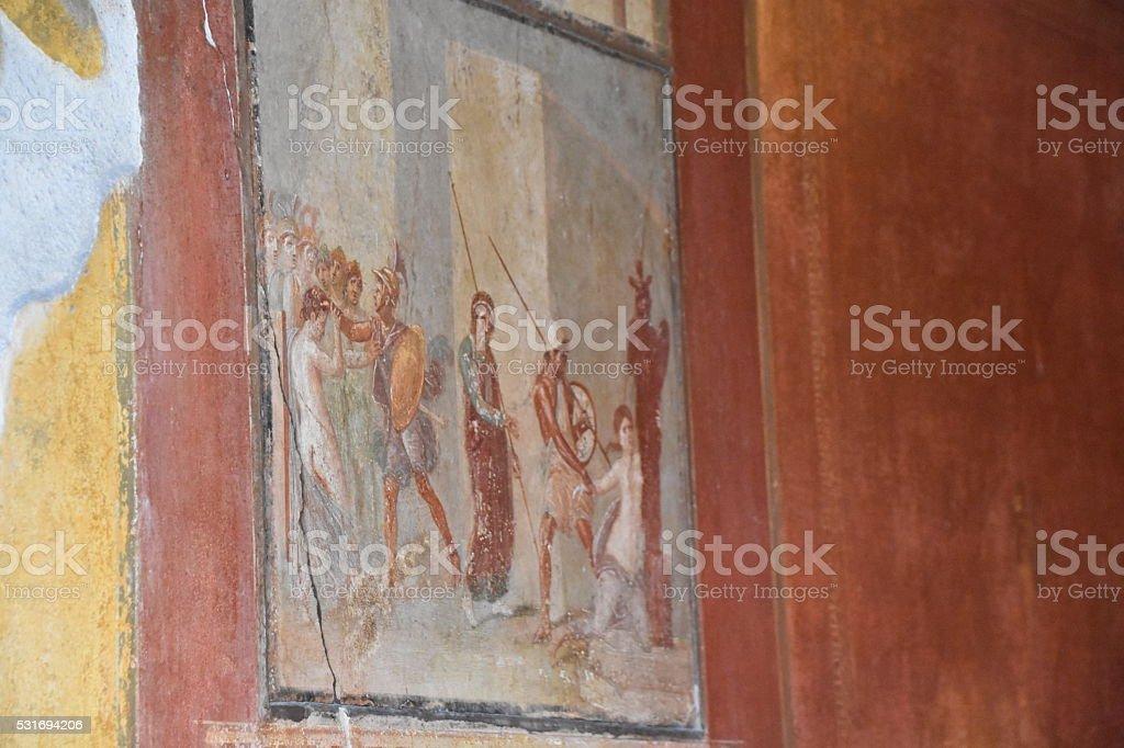 Ancient fresco found in Pompeii city stock photo