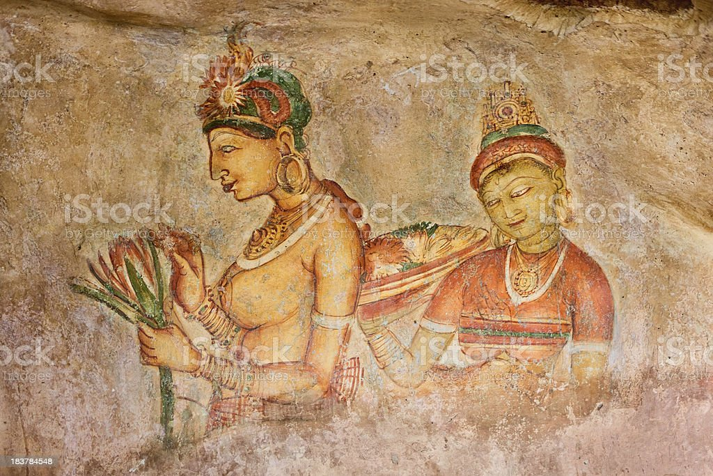 Ancient fresco in the cave temple, Sigiriya, Sri Lanka royalty-free stock photo