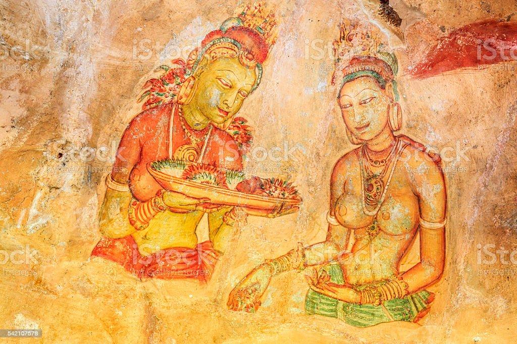 Ancient fresco in the cave temple, Sigiriya, Sri Lanka stock photo