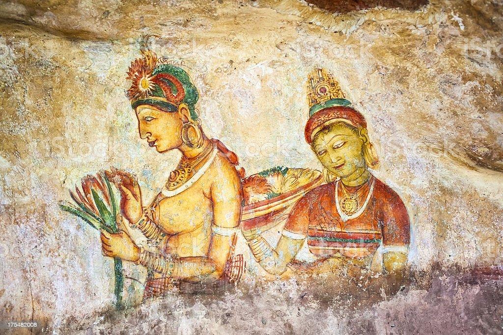 Ancient frescoe of Sigiriya , Sri Lanka royalty-free stock photo