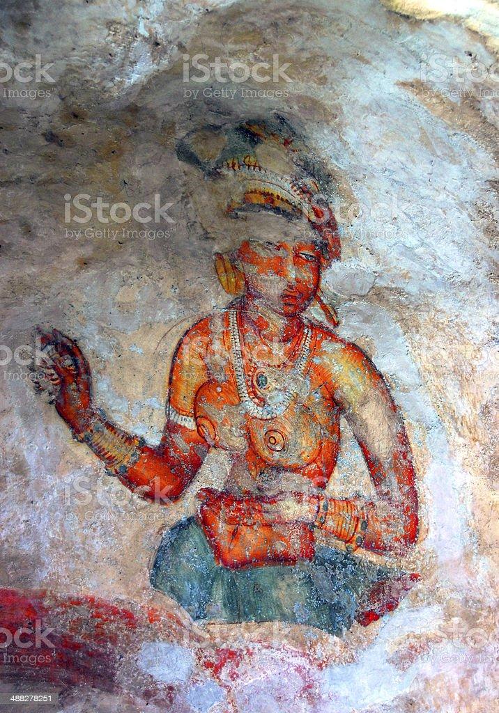 ancient frescos on mount Sigiriya, Sri Lanka royalty-free stock photo