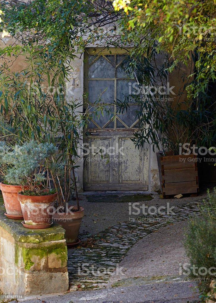 Ancient front door stock photo