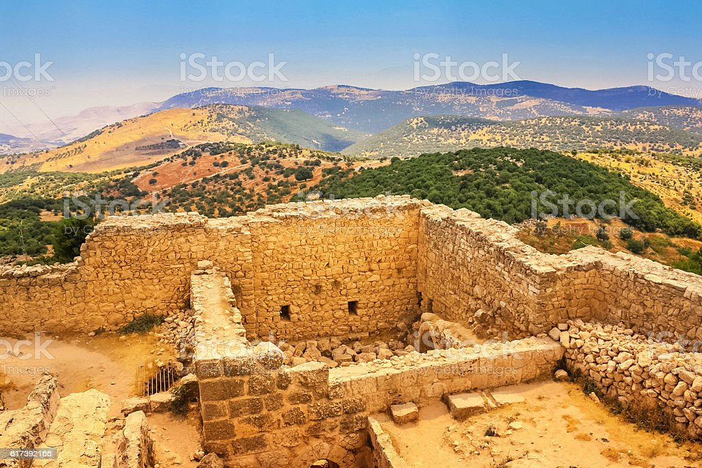 Ancient Gadara Ruins at Umm Qais in Jordan stock photo