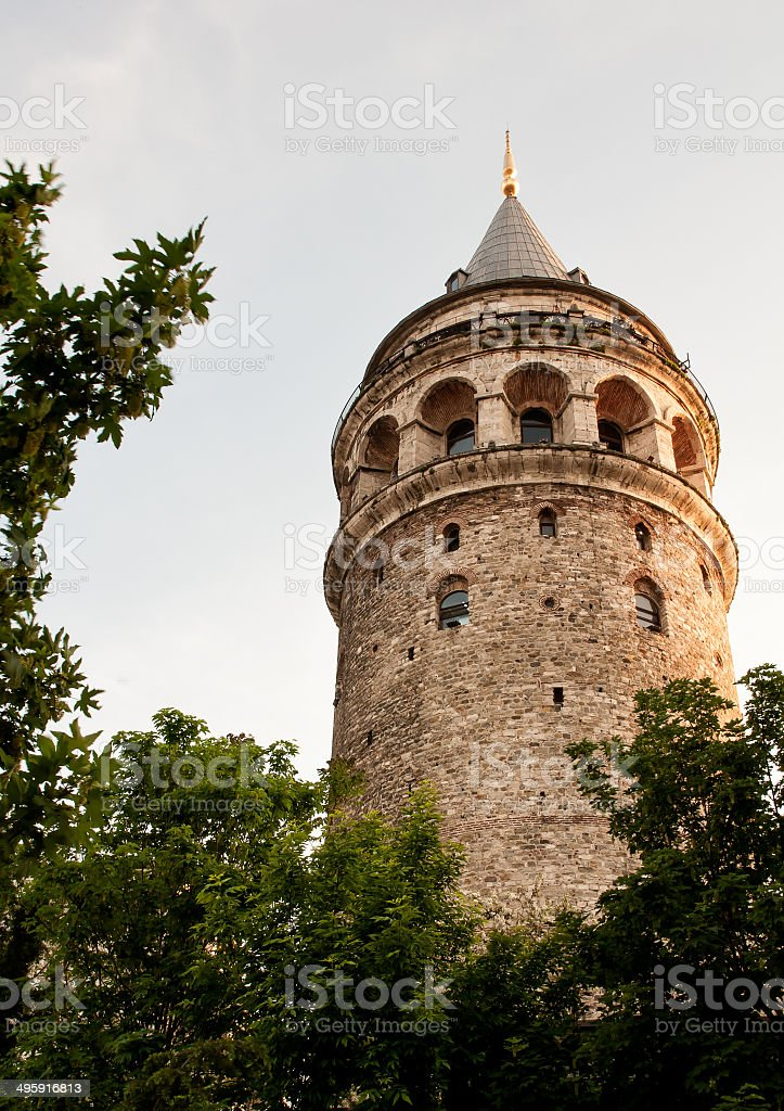 Ancient Galata Tower at Beyoglu region in Istanbul. Turkey. stock photo