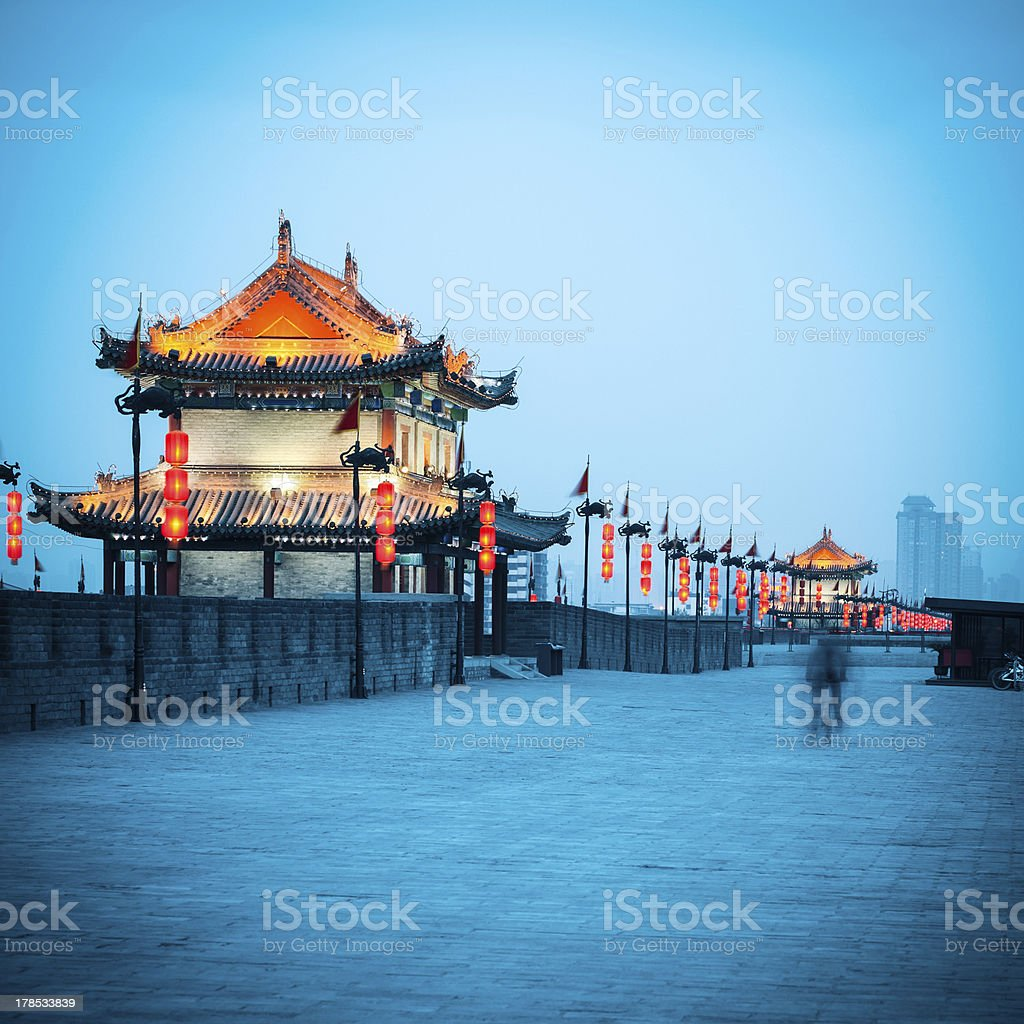 ancient gate tower on city wall in xian stock photo