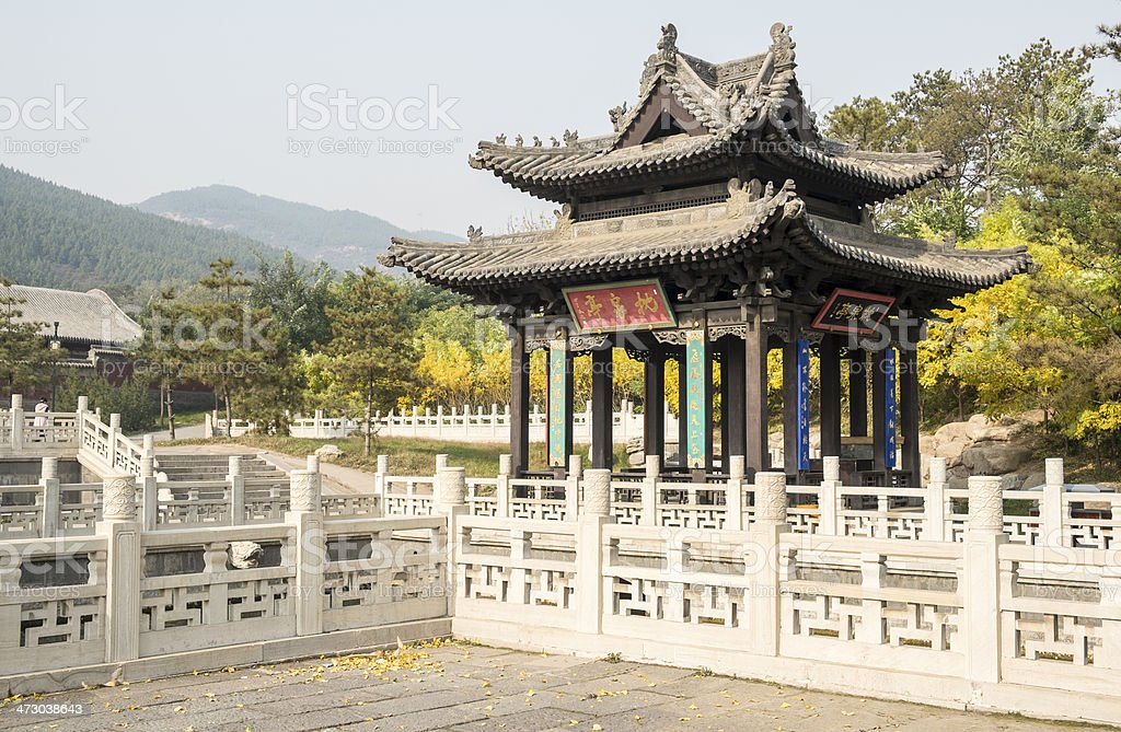 Ancient Gazebo in a Chinese Park stock photo