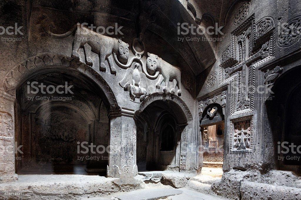 Ancient Geghard Monastery, Armenia stock photo