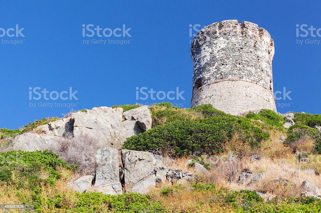 Ancient Genoese tower near Ajaccio, Corsica stock photo