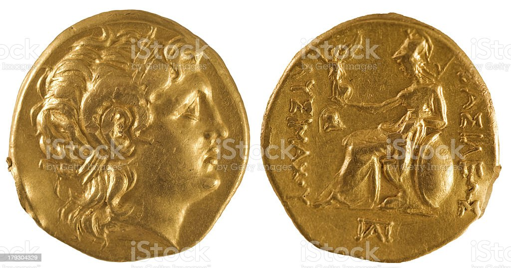 Ancient gold coin of Greece. stock photo
