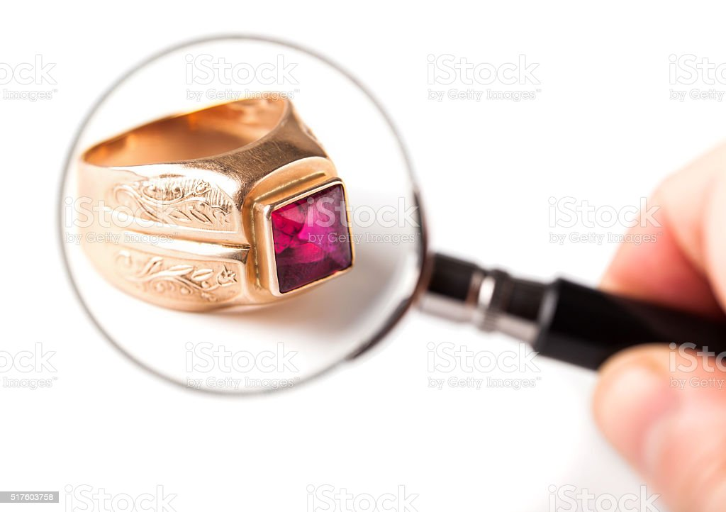 ancient gold ring with ruby stock photo