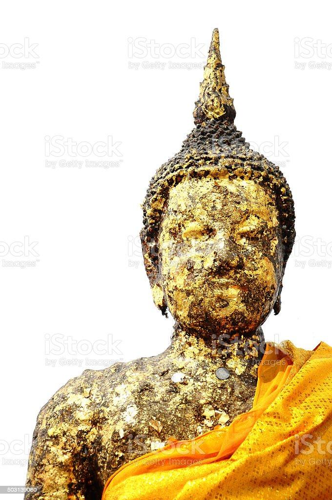 Ancient golden buddha isolated white background stock photo