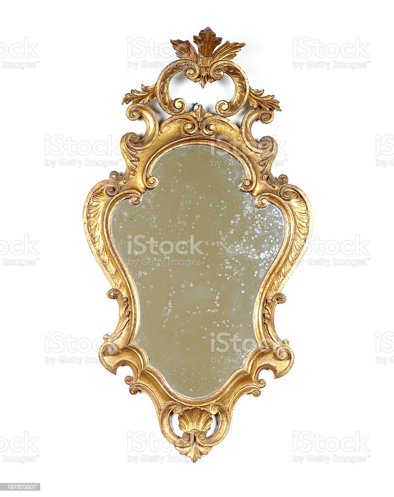 Ancient Golden Mirror Isolated royalty-free stock photo