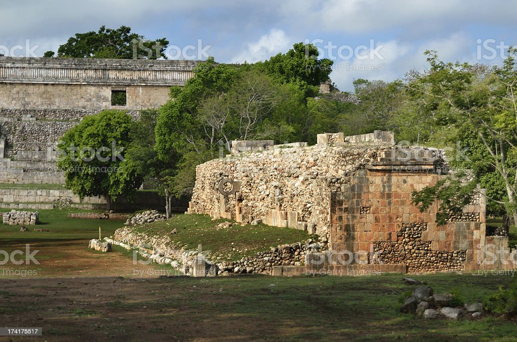 Ancient golf ball in Uxmal, Mexico royalty-free stock photo