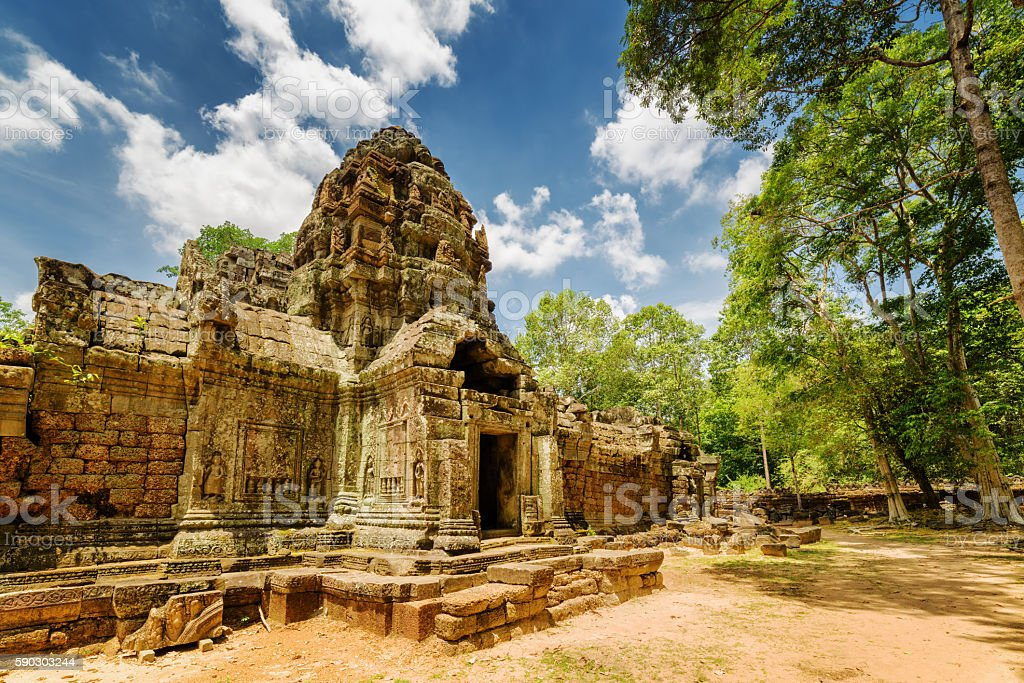 Ancient gopura at Ta Som temple in Angkor, Cambodia stock photo