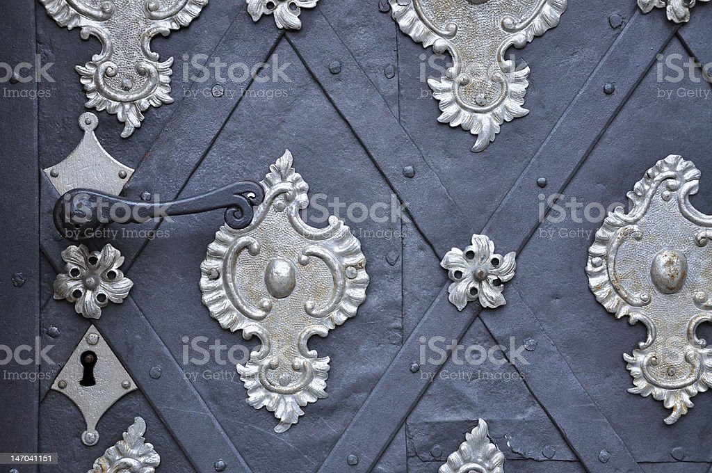 Ancient Gothic black silver door royalty-free stock photo