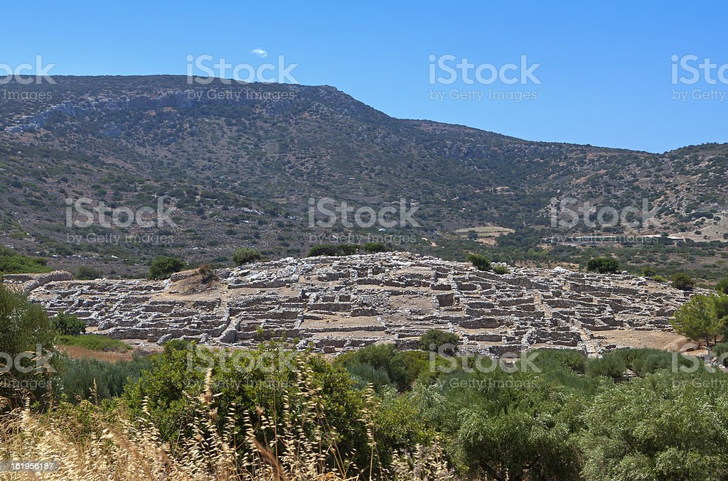 Ancient Gournia Minoan settlement at Crete island, Greece stock photo