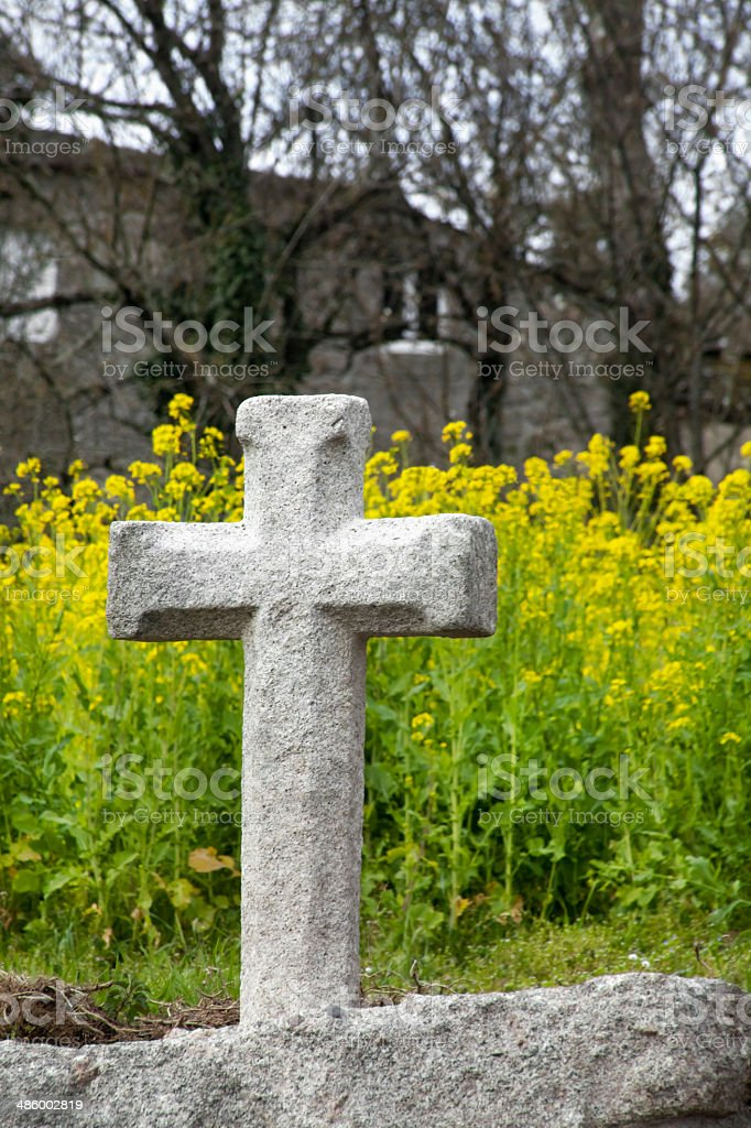 Ancient granite stone cross royalty-free stock photo