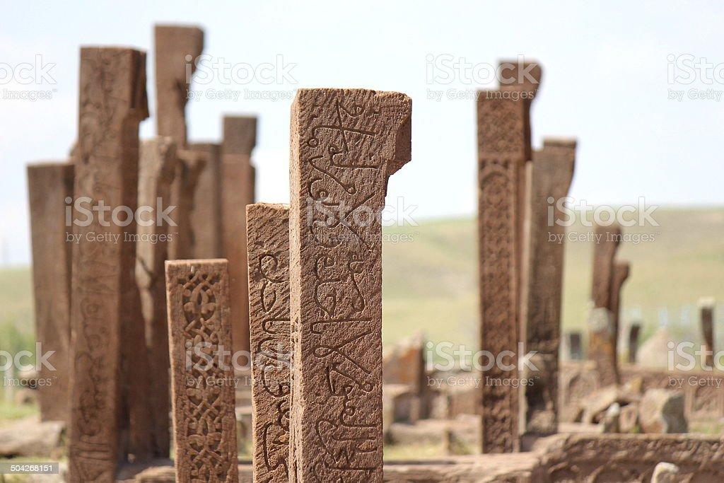 Ancient Grave Stones stock photo