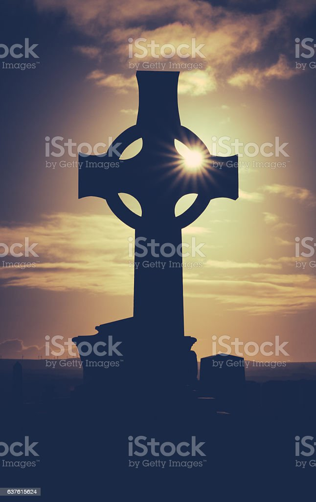Ancient Graveyard At Sunset stock photo
