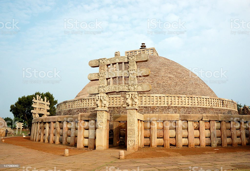 Ancient Great stupa in Sanchi ,India,madhya pradesh state stock photo