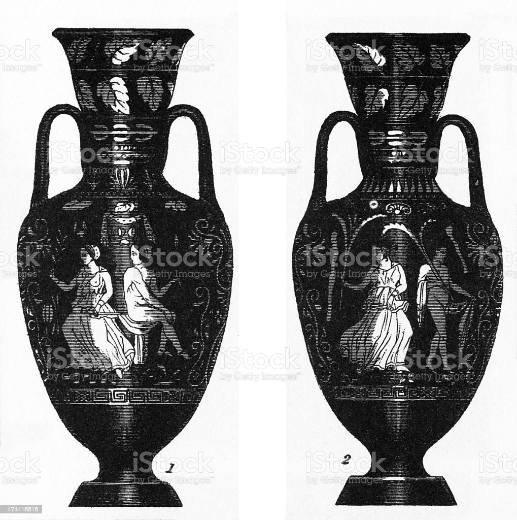 Ancient Grecian Vases Engraving stock photo