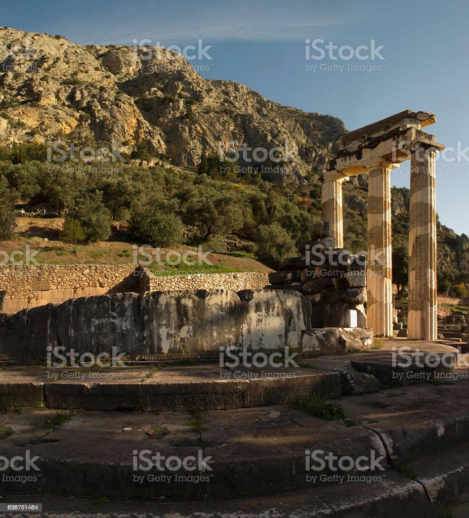 Ancient Greek archaeological site of Delphi,Central Greece. stock photo