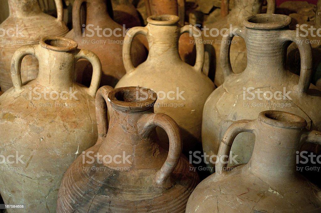 ancient Greek clay amphora stock photo