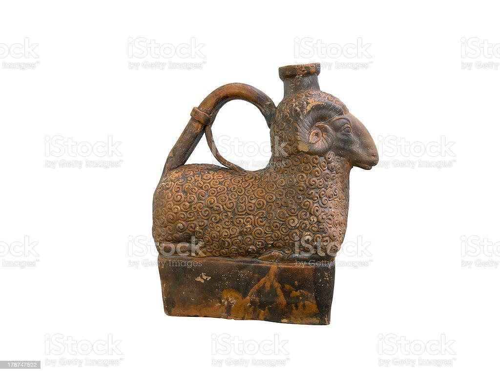 Grécia Antiga de argila Jarro em forma de Carneiros foto de stock royalty-free