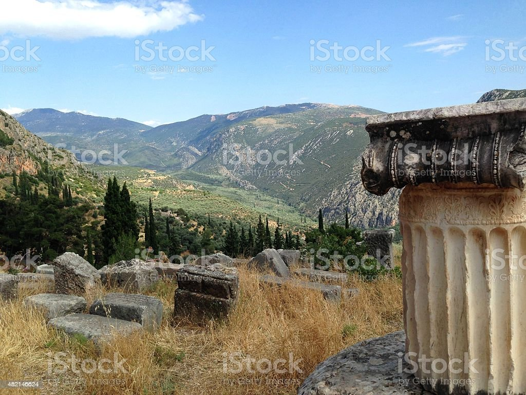 Ancient Greek column and ruins in the mountains of Greece stock photo