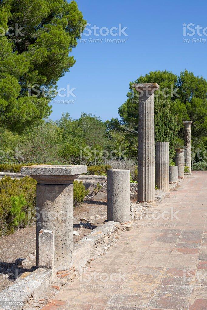 Ancient greek columns in Empuries stock photo
