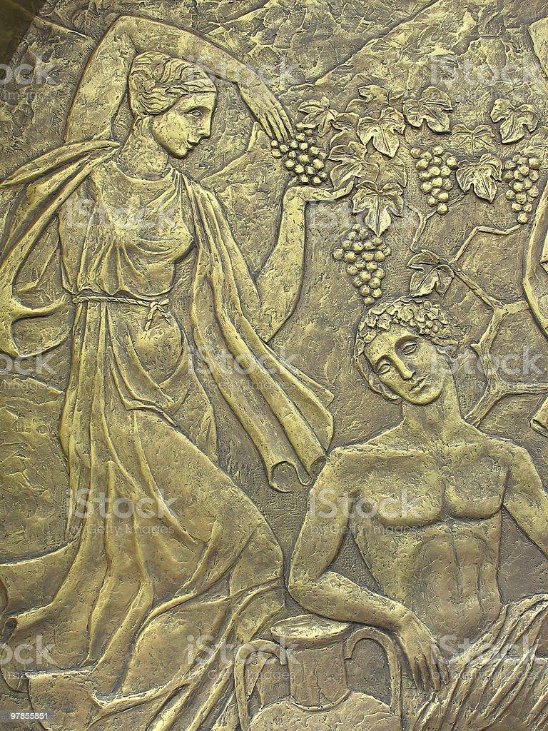 Grega antiga cobre baixo-relevo na base de Mitos foto de stock royalty-free