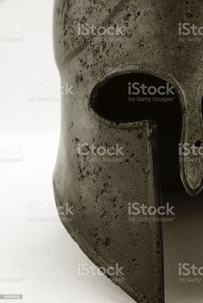 Ancient Greek Corinthian Helmet Black & White stock photo