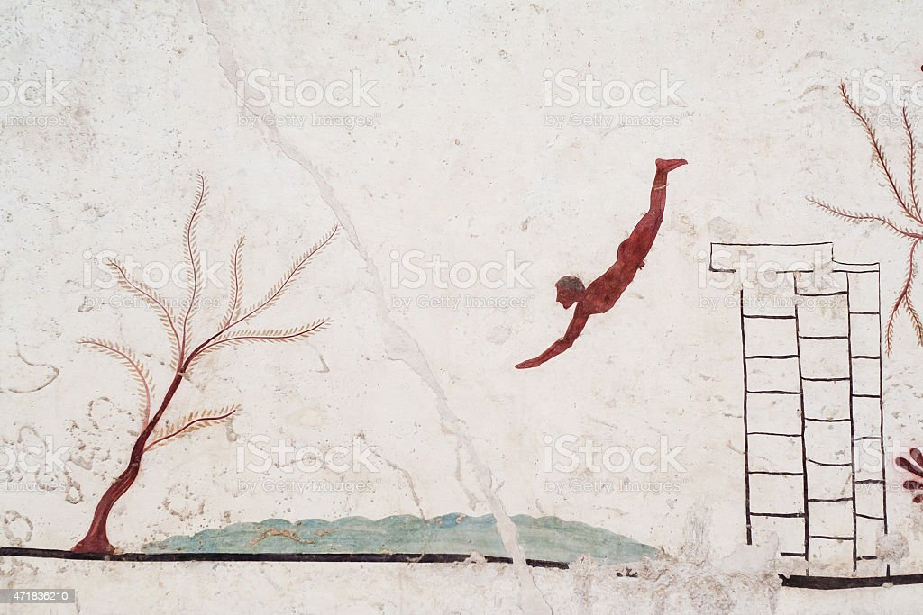 Ancient Greek Fresco: Diver's Tomb, Paestum stock photo