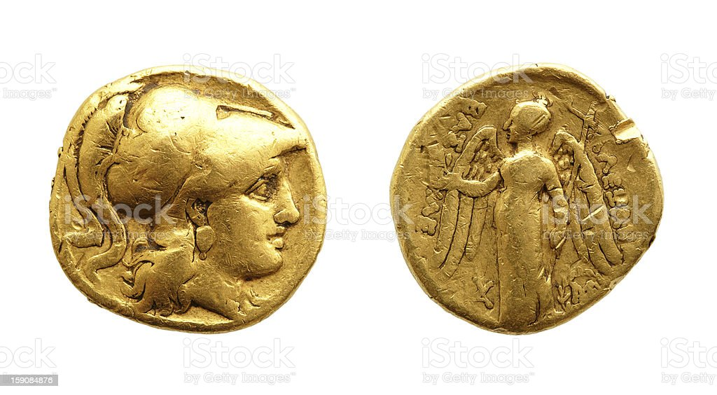 Ancient greek gold coin stock photo