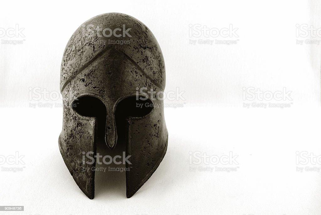 Ancient Greek Helmet Black & White royalty-free stock photo
