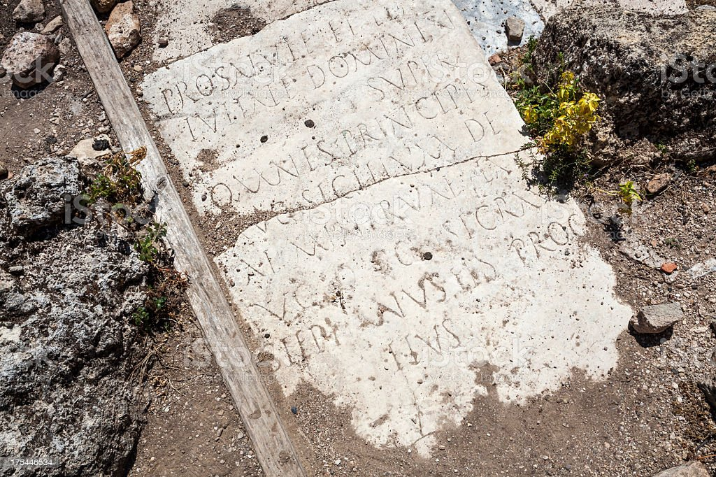 Ancient Greek Inscription, Perge royalty-free stock photo