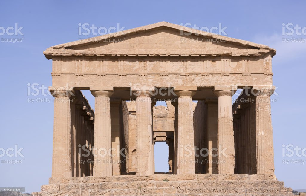 ancient Greek landmark in the Valley of the Temples outside Agrige stock photo