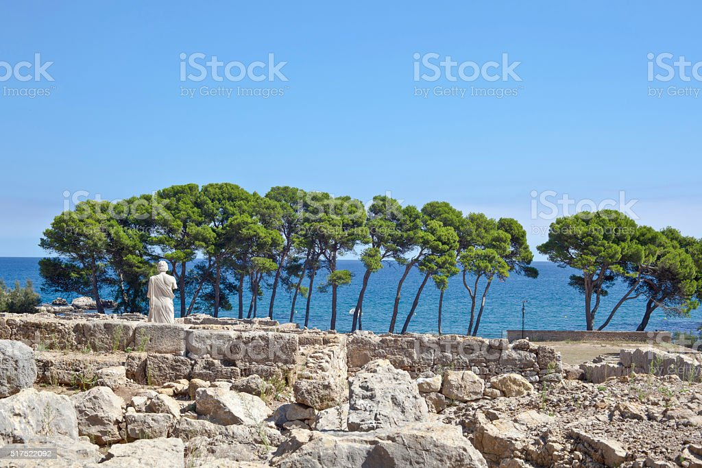 Ancient greek ruins in Empuries stock photo