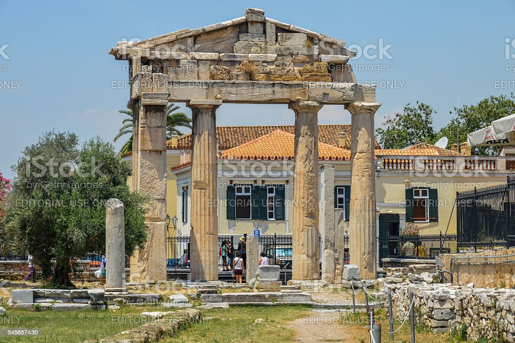Ancient Greek Ruins - The Ancient Agora in Athens, Greece stock photo