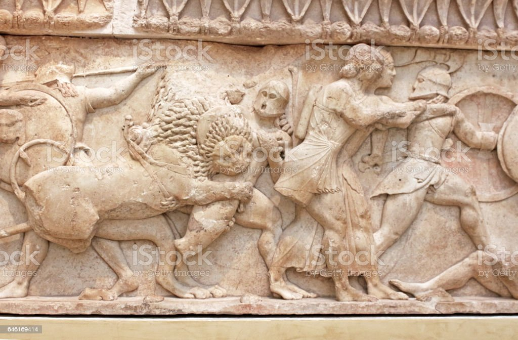 Ancient Greek sculpture representing battle, Greece stock photo