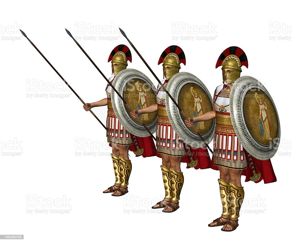 Ancient Greek Soldiers royalty-free stock photo
