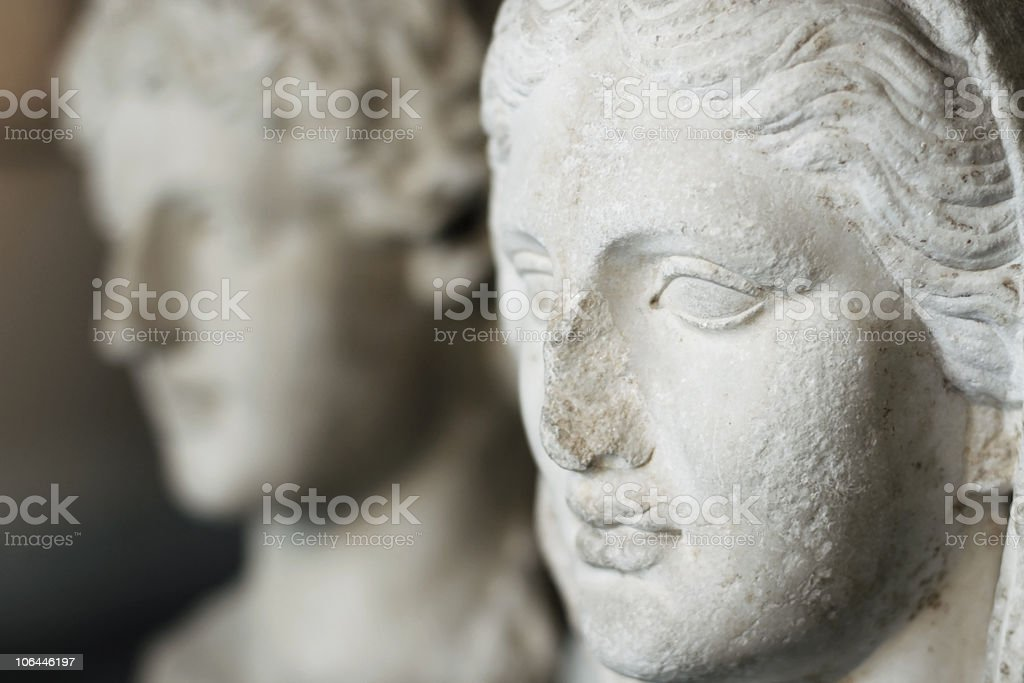 ancient  greek statue heads stock photo