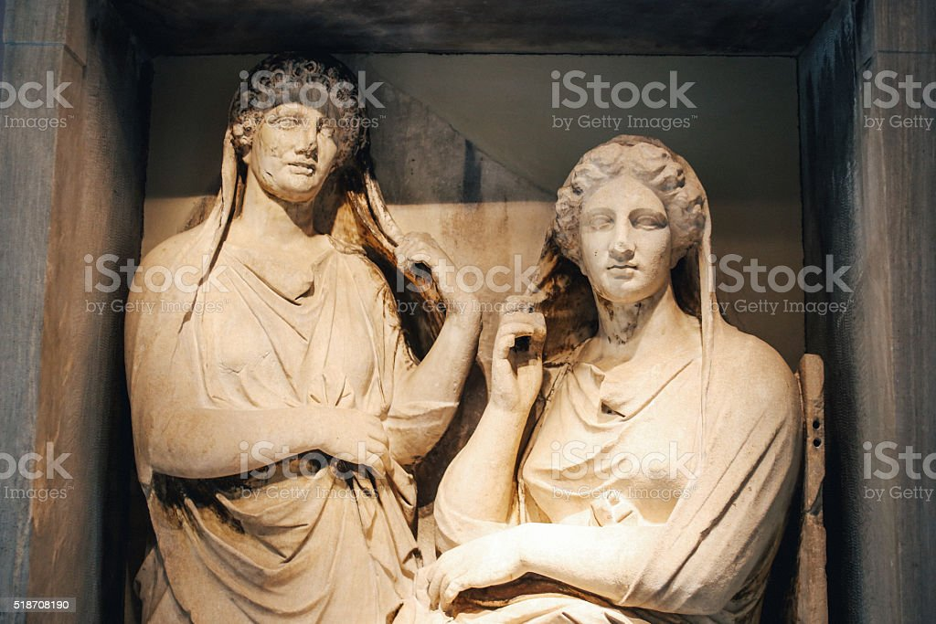Ancient Greek statues in Athens downtown stock photo