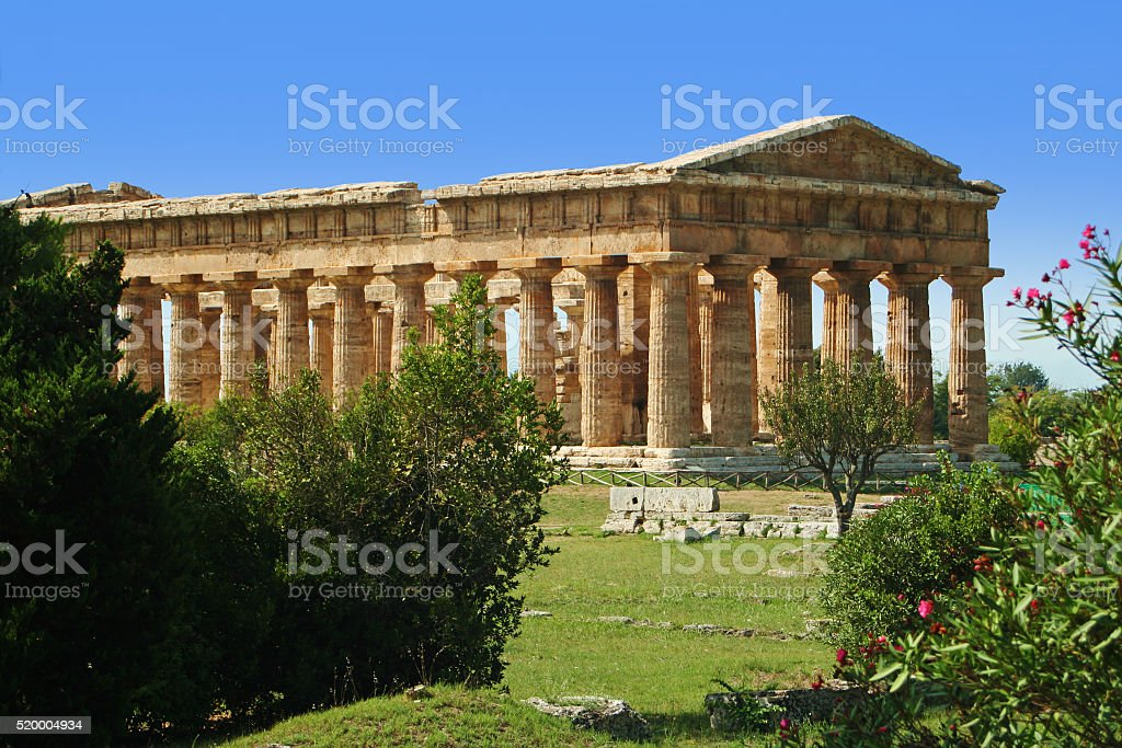 Ancient greek temple in southern Italy - Agropoli stock photo