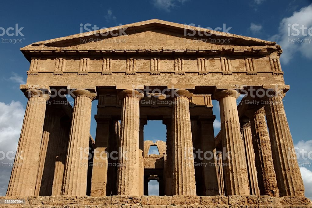 Ancient Greek Temple of Concord Agrigento Sicily Front view stock photo