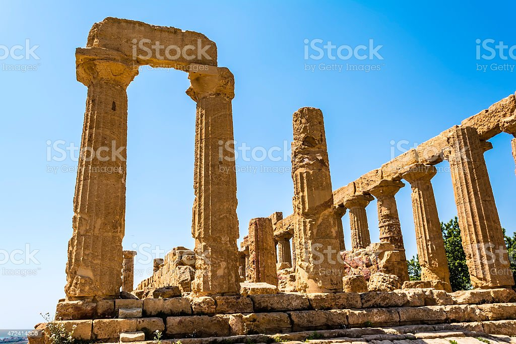 Ancient Greek Temple of Juno God, Agrigento, Sicily, Italy stock photo