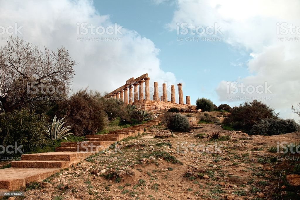 Ancient Greek Temple of Juno Valley of Temples Agrigento Sicily stock photo