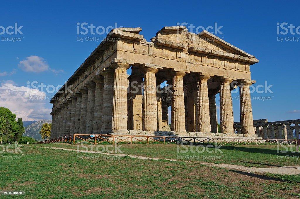 PAESTUM, IT  - Ancient Greek temple stock photo